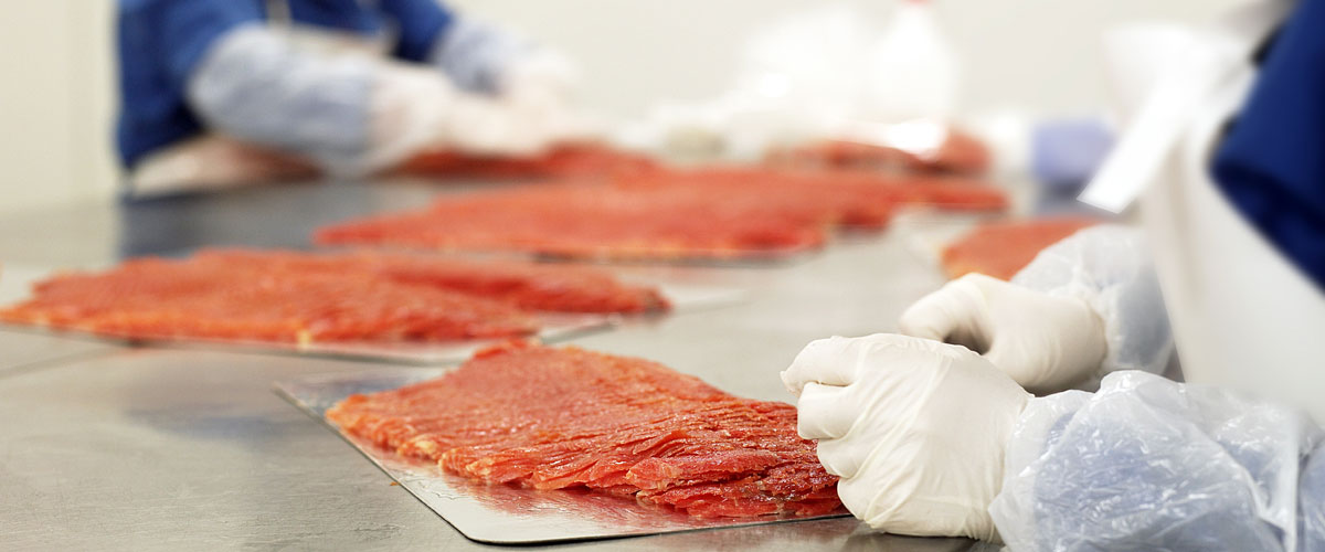 Up close of food in processing factory