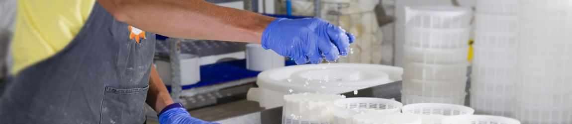 Worker processing food