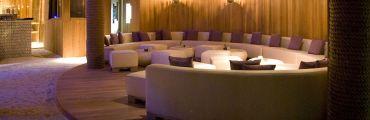 Hardwood themed lounge area